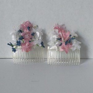 2/$15 Handcrafted Floral French Side Hair Combs